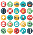 Flat icons of gas station vector image vector image