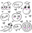 fruit hand draw style doodles vector image vector image