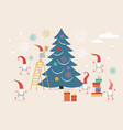 fuuny small cute christmas gnomes vector image