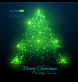 green polygonal christmas tree with flares vector image