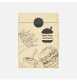 Kraft paper takeaway bag with fastfood vector image