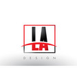 la l a logo letters with red and black colors and vector image vector image