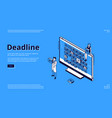 landing page deadline with calendar and people vector image