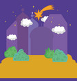 landscape night star sky nature town silhouette vector image