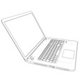 laptop sketch created of 3d wire-frame vector image vector image