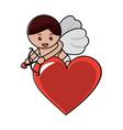 love cupid heart shooting arrow with bow vector image