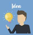 man with light bulb idea icon vector image