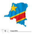 Map of Democratic Republic of the Congo with flag vector image