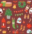 merry christmas and winter holiday scandinavian vector image
