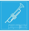 Musical instrument Trumpet sign White section of vector image vector image