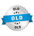 old 3d silver badge with blue ribbon vector image vector image