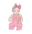 pretty newborn bagirl dressed in romper suit vector image vector image
