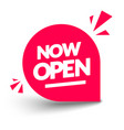 round now open label modern red web banner vector image