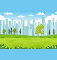 rual summer cityscape with trees and flowers vector image
