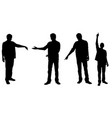 set of people silhouettes pointing with fingers vector image vector image