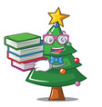 student with book christmas tree character cartoon vector image vector image