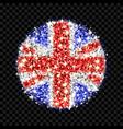 united kingdom flag sparkling badge vector image