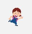 white girl in jeans running smiling vector image