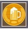 Symbol Mug of Beer with Foam Icon on Stylish Gold vector image