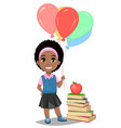 back to school cute afro-american girl in casual vector image