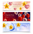 balloons party realistic banners vector image