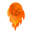 basketball fire ball icon cartoon style
