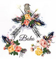 boho tribal design with arrows roses and birds vector image vector image