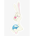 bunny and ball sticker vector image