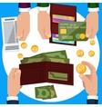 Businessmen hands with money vector image vector image