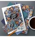 Cartoon doodles Winter corporate identity vector image