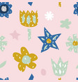 childish seamless pattern with cute flowers vector image vector image