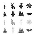christmas tree angel gifts and holly black vector image vector image