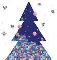 Christmas tree old town and the birds vector image