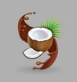 coconut in chokolate splash realistic vector image vector image