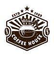 coffee house vintage emblem with glass pot