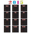 colorful calendar for 2015 starts sunday vector image vector image
