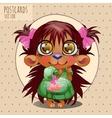 Cute character hedgehog girl series cartoon vector image vector image
