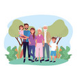 cute woman and man with their kids and parents vector image