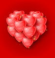 elegant 3d red heart shaped balloons vector image vector image