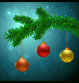 fir tree with 3 christmas balls vector image vector image