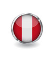 flag of peru button with metal frame and shadow vector image vector image