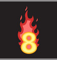 flaming number eight vector image vector image