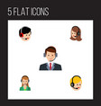 flat icon telemarketing set of call center vector image vector image