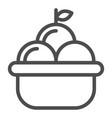 fruit basket line icon basket of apples vector image vector image