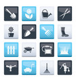 garden and gardening tools and objects icons vector image
