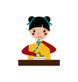 girl eating triangular chinese dumplings vector image vector image