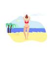 girl in bikini posing on summer beach background vector image vector image