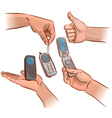 Hands with mobile phone vector image
