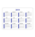 horizontal pocket calendar on 2019 year simple vector image vector image