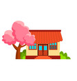 japanese house and sakura isolated flat vector image